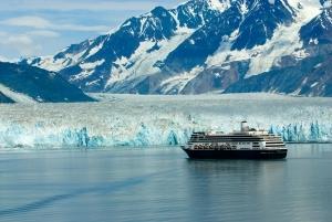 Alaska cruise ship boat near glacier