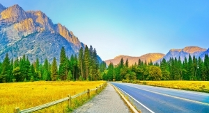 Yosemite Valley in Yosemite National Park at dawn in autumn.