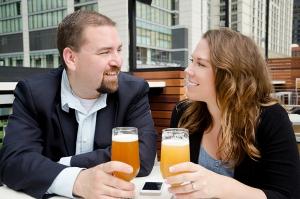 Happy Couple Drinking Beer